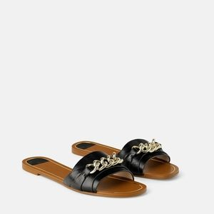 Zara FLAT LEATHER SANDALS WITH CHAIN 5 54/aq